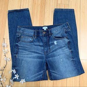 J. CREW distressed ripped boyfriend jeans, 27.